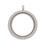 30mm Violet Crystal Twist Stainless Steel Floating Locket